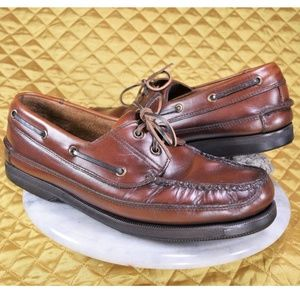 BASS Harry Brown Leather Boat Shoes CUSTOMIZED